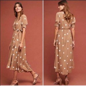 Anthropologie Maeve Breanna Polka Dot Wrap Dress